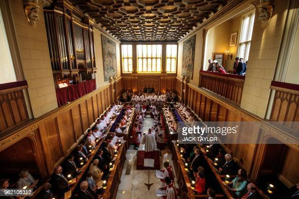 The Sistine Chapel choir perform with the Choir of Her Majesty's Chapel Royal during an Evensong service at the Chapel Royal St James' Palace in...