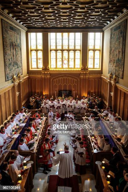 The Sistine Chapel choir performs with the Choir of Her Majesty's Chapel Royal during an Evensong service at the Chapel Royal, St James' Palace in...