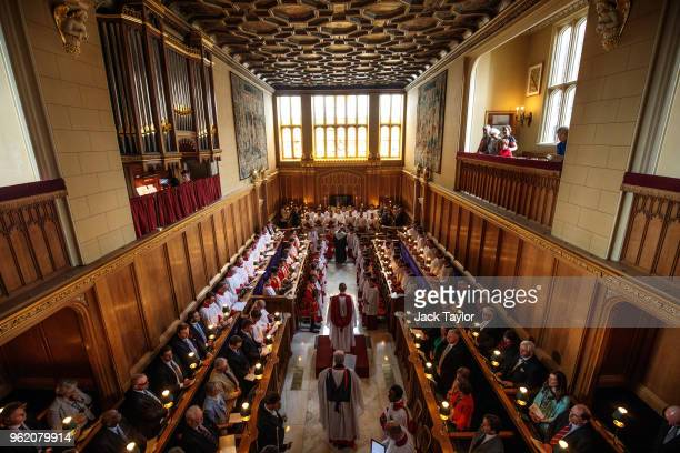 The Sistine Chapel choir prepare to perform with the Choir of Her Majesty's Chapel Royal during an Evensong service at the Chapel Royal St James'...
