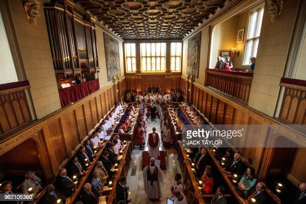 The Sistine Chapel choir prepare to perform with the Choir of Her Majesty's Chapel Royal during an Evensong service at the Chapel Royal, St James'...