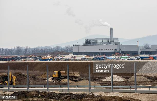 The site for the new Jaguar Land Rover Plc electric vehicle plant stands during construction in Nitra Slovakia on Monday Jan 15 2018 Slovakia makes...
