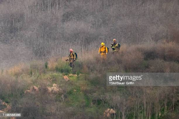 The site of a helicopter crash that claimed the lives of former NBA great Kobe Bryant and his daughter Gianna Bryant is shown January 26 2020 in...