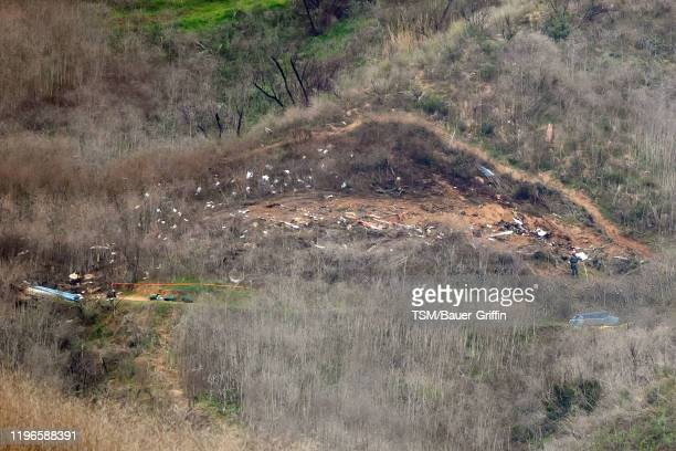 The site of a helicopter crash that claimed the lives of former NBA great Kobe Bryant and his daughter Gianna Bryant is shown January 26, 2020 in...