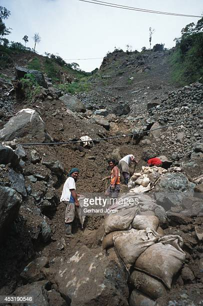 The site of a landslide at Diwalwal gold mining community, built on stilts along the hill slopes, without any water or sanitation. Over 130,000 lived...