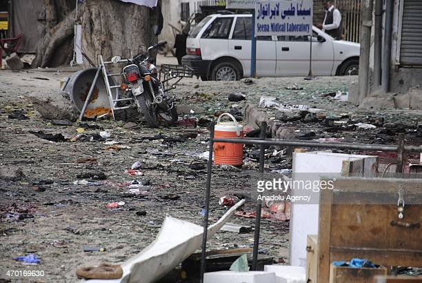 The site of a suicide attack near in Jalalabad City of eastern Nangarhar province of Afghanistan is seen on April 18 2015 At least 33 people were...