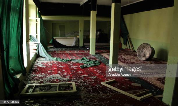 The site of a suicide bomb attack inside the Nabi Akram Mosque is seen in western Herat province of Afghanistan on March 25 2018 A suicide attack...