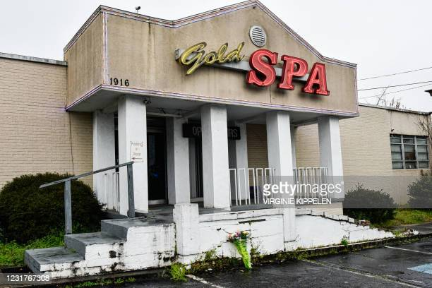 The site of Gold Spa, is viewed on March 17 one of the three Asian massage parlors that was hit by deadly shooting attacks in Northeast Atlanta,...