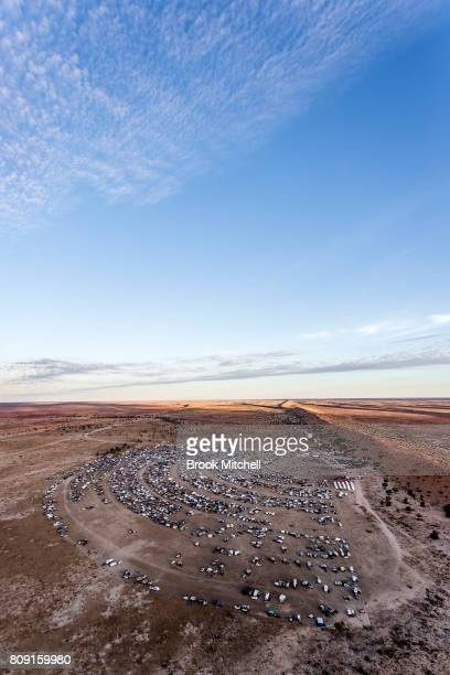 The site of the annual Big Red Bash Music Festival next to the vast Big Red sand dune is pictured from a chopper at sunset on July 5 2017 in...