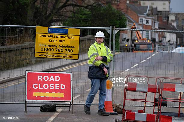 The site of the bridge over the River Wharfe which collapsed due to heavy flooding on December 30 2015 in Tadcaster England Heavy rain over the...