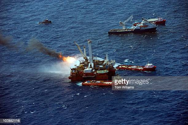 The site of the Deepwater Horizon oil spill which exploded April 20th and has been leaking crude into in the the Gulf of Mexico is seen from the back...