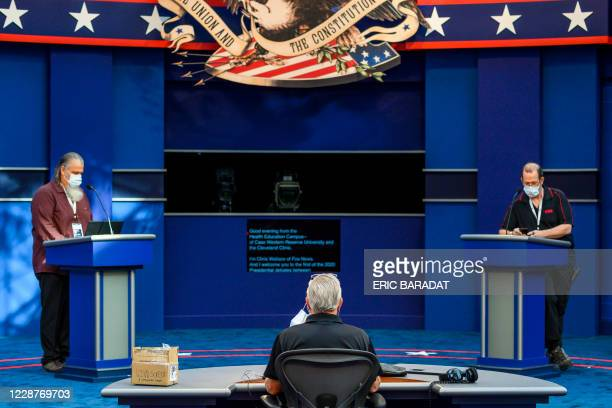 The site of the first US Presidential debate is seen as people complete the final touches on September 28, in Cleveland, Ohio. - Tuesday's clash in...