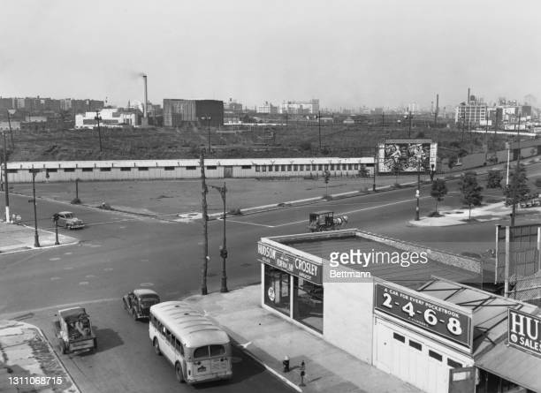 The site of the Madison Square Garden Bowl, an outdoor arena at 48th Street and Northern Boulevard, Long Island City, in the borough of Queens, New...