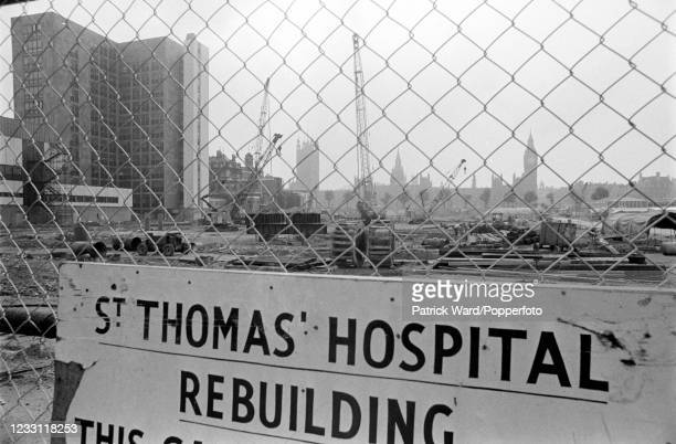 The site of the new St Thomas Hospital opposite the Houses of Parliament beside the River Thames in London, circa July 1969. From a series of images...