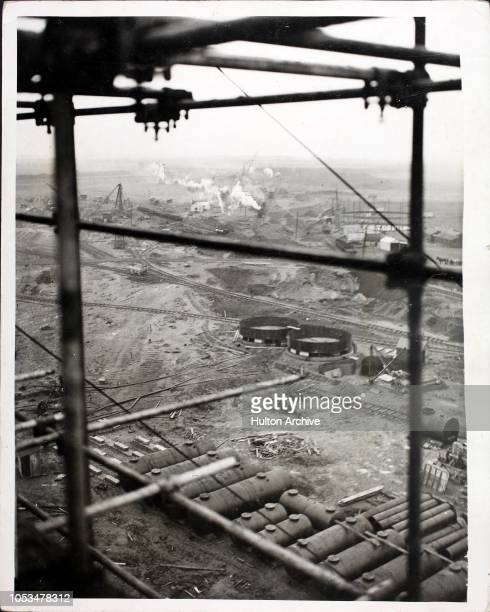 The site of the new steelworks as seen from the top of the 120 ft coal bunker Corby Northamptonshire Signs of a return of prosperity and trade...