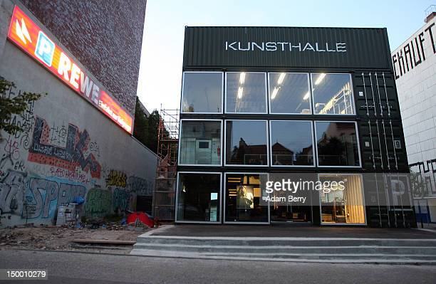 The site of the performance art piece 'Deliverance' to the left side of the Platoon Kunsthalle building is seen in the early morning on August 8 2012...
