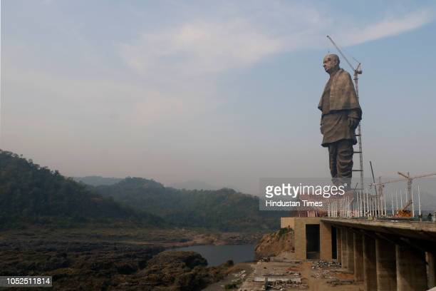 The site of the Statue of Unity near Sardar Sarovar Dam on October 18 2018 in Kevadiya India The Statue of Unity is an iconic 182 meters tall tribute...