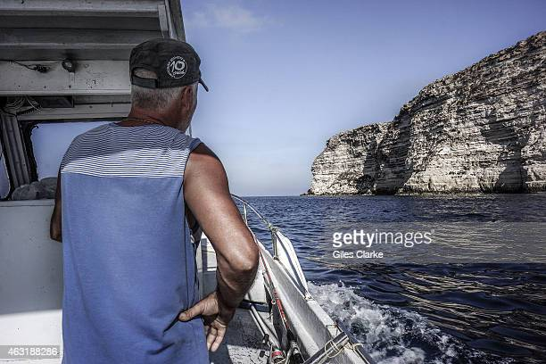 The site of where 366 North African migrants drowned on October 3 viewed on September 10 2014 in Lampedusa Italy It was here local fisherman Vito...