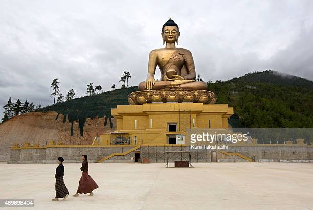The Sitting Buddha is seen on the hill in Thimphu, Bhutan on September 1, 2013. The 169ft bronze statue, which will be accommodating 125,000 statues...