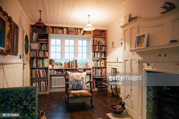 the sitting room - bookshelf stock pictures, royalty-free photos & images