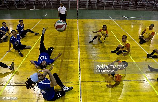 The sitting volleyball teams Disfad and En Forma train during the 2nd Sitting Volleyball National Cup in Cali department of Valle del Cauca Colombia...