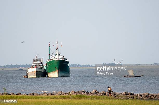 The Sittwe harbour on the Kaladan River..