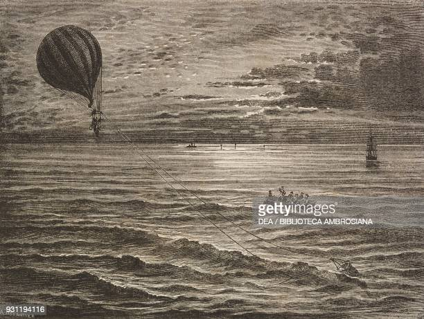 The Sivel balloon anchored in the sea in Sund Finland with a coneshaped balloon anchor August 19 drawing by Albert Tissandier from documents provided...