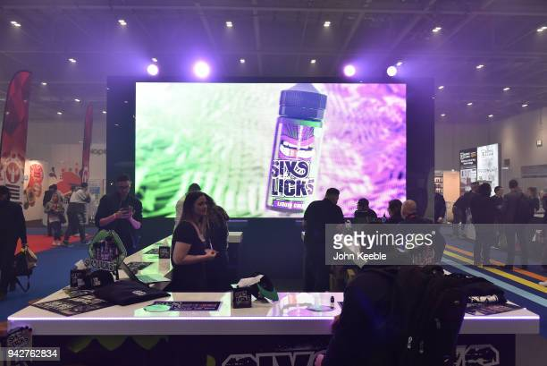 The six licks e liquid stand at the Vape Jam UK 4 at ExCel on April 6 2018 in London England Vape Jam UK the premier Electronic Cigarette and ELiquid...