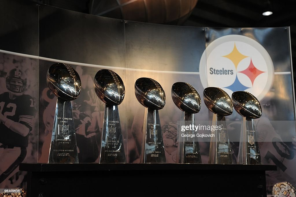 The six Lombardi Trophies earned by the Pittsburgh Steelers for Super Bowl victories are displayed in the Great Hall at Heinz Field on September 5, 2009 in Pittsburgh, Pennsylvania. The Super Bowl trophies represent Steeler wins in Super Bowls IX, X, XIII, XIV, XL and XLIII.