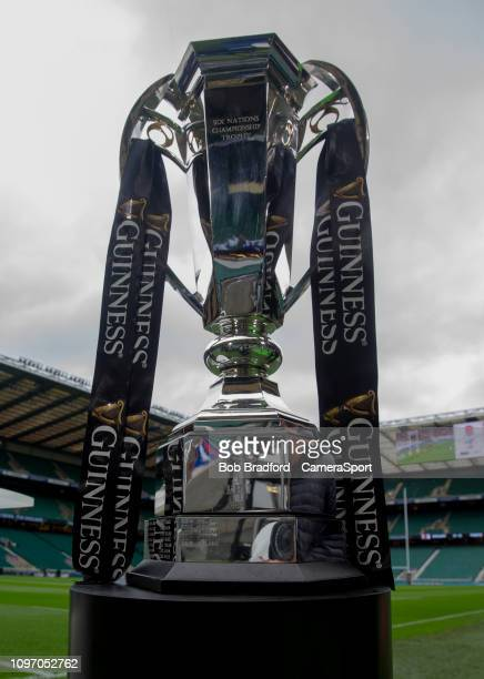 The Six Nations Trophy during the Guinness Six Nations Championship match between England and France at Twickenham Stadium on February 10 2019 in...