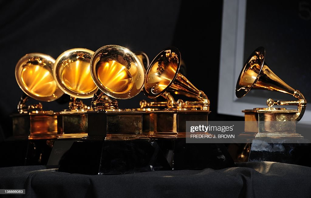 The six trophies for Adele are displayed : News Photo