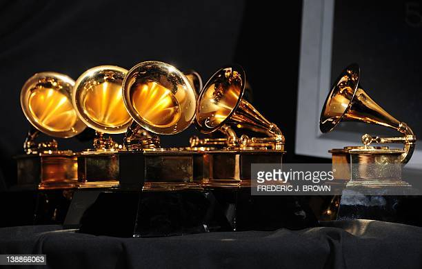 The six trophies for Adele are displayed backstage at the 54th Grammy Awards in Los Angeles California February 12 2012 AFP PHOTO/ FREDERIC J BROWN