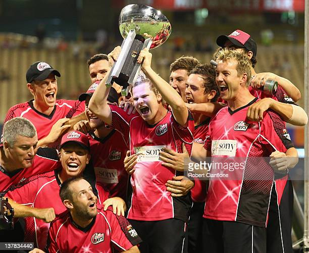 The Sixers celebrate after they won the T20 Big Bash League Grand Final match between the Perth Scorchers and the Sydney Sixers at WACA on January...