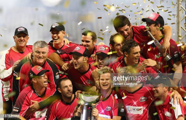 The Sixers celebrate after they won the T20 Big Bash League Grand Final match between the Perth Scorchers and the Sydney Sixers at WACA on January 28...