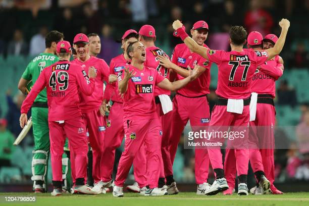 The Sixers celebrate victory in the Big Bash League Final match between the Sydney Sixers and the Melbourne Stars at the Sydney Cricket Ground on...
