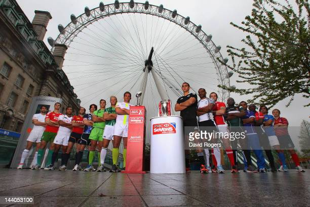 The sixteen captains of the nations playing in the Marriott London Sevens which is the final round of the HSBC Sevens World Series gather at EDF...