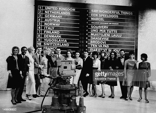 The sixteen singers who will try tonight to win the Eurovision song contest in the BBC studio for the rehearsal including Nana Mouskouri Francoise...