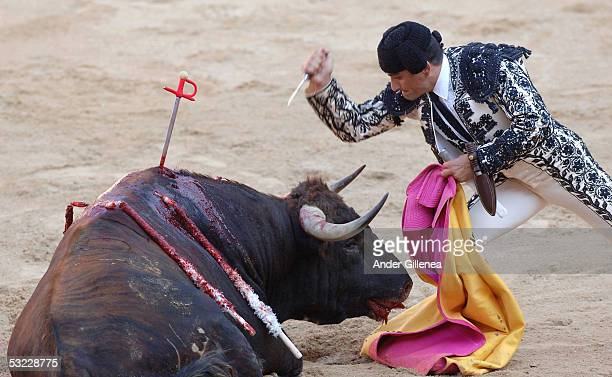 The sixth day of bull fighting takes place during the San Fermin Festival in Pamplona with Juan Pedro domecq bulls on July 12 2005 in Pamplona Spain...