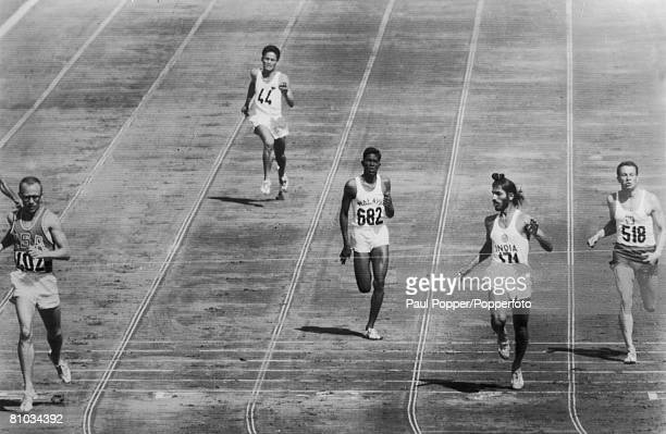 The sixth heat of the Men's 400 Metres at the Rome Olympics 3rd September 1960 From left to right America's Jack Yerman the Philippines' Claro...
