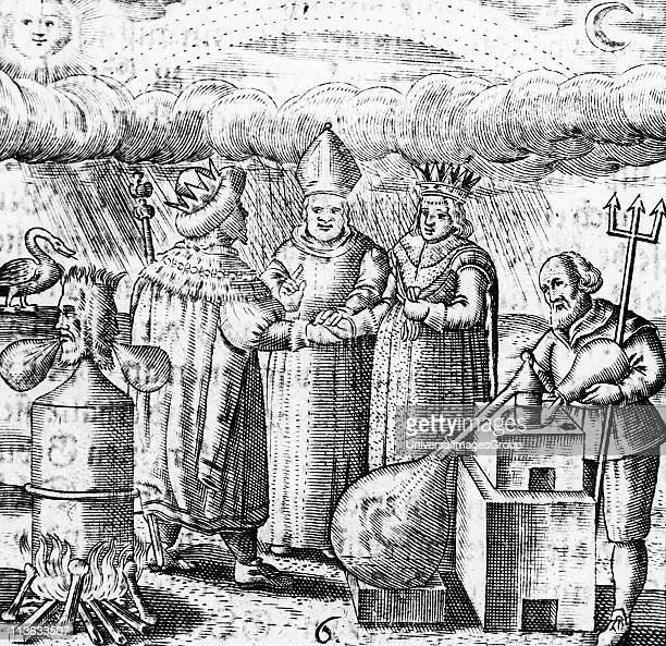 The Sixth Key of Basil Valentine legendary 15th century German monk showing the marriage of the alchemical king and queen and the process of...