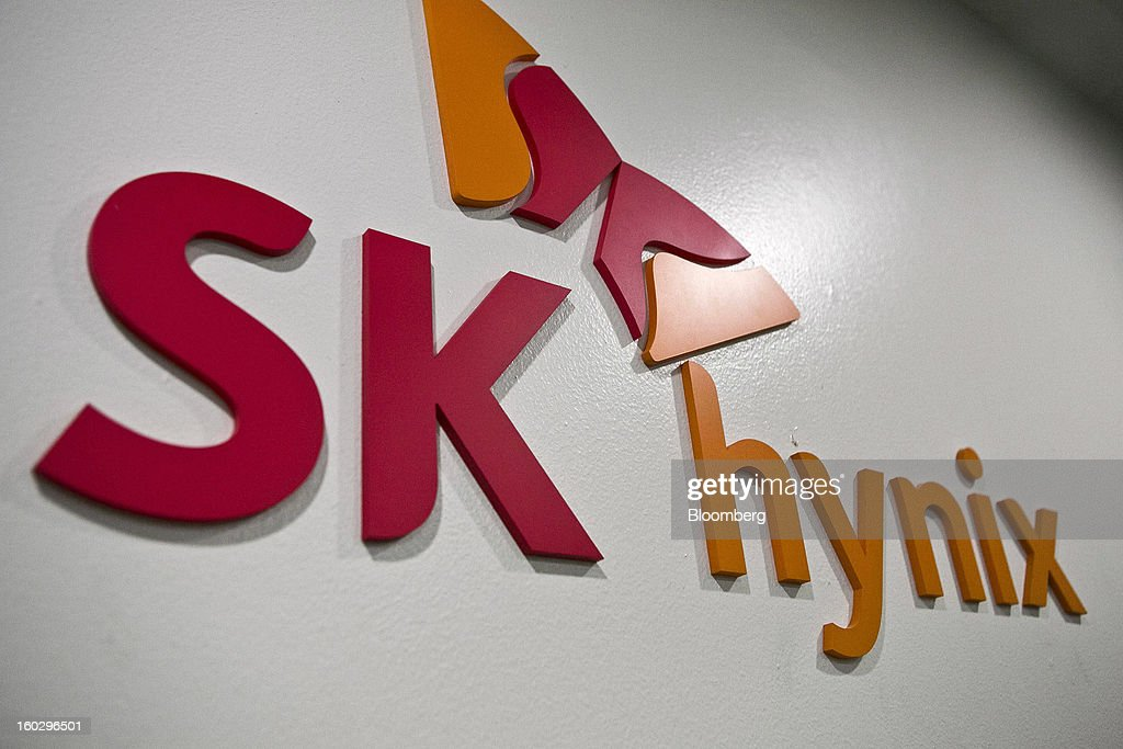 The SK Hynix Inc. logo is displayed at the company's headquarters in Seoul, South Korea, on Monday, Jan. 28, 2013. Hynix is scheduled to release full-year earnings on Jan. 30. Photographer: Jean Chung/Bloomberg via Getty Images