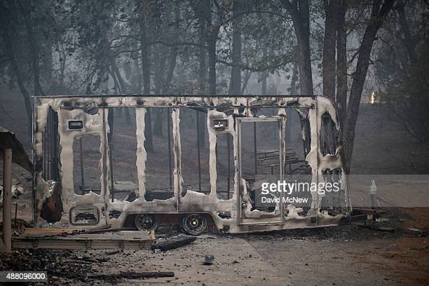 The skeletal remains of a burned trailer is seen at the Butte Fire on September 13 2015 near San Andreas California California governor Jerry Brown...