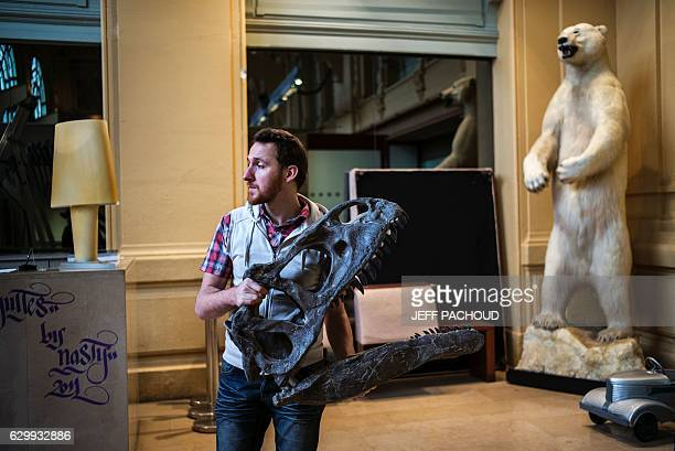 The skeleton of an Allosaurus is disassembled on December 15 2016 at Lyon Brotteaux Aguttes auction house in Lyon Named 'Kan' the skeleton was sold...