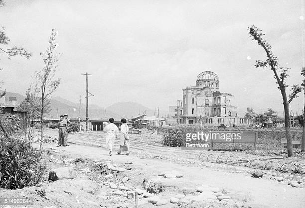 The skeleton of Hiroshima's Industrial Promotion Hall stands as a reminder of the death and destruction which hit the city at 815 am on August 6 when...