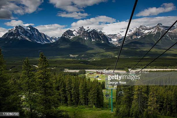 The ski area and nearby ski gondola observation deck becomes a popular destination for summer visitors on June 27 2013 in Lake Louise Alberta Canada...
