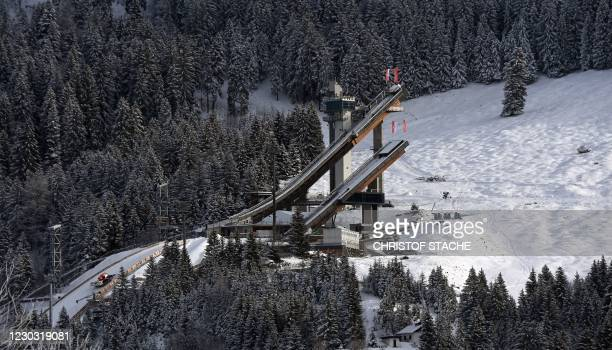 The ski jump area of Oberstdorf, southern Germany, is pictured on December 27, 2020 on the eve of the Four Hills Ski Jumping competition . - The...