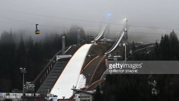 TOPSHOT The ski jump of Oberstdorf southern Germany is pictured on the eve of the start of the qualification for the Four Hills Ski Jumping...