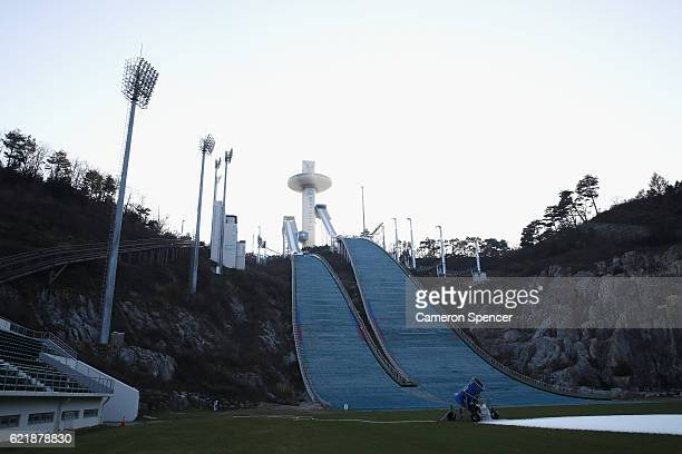 The ski jump ramps at the Alpensia Ski Jumping Centre venue for Ski Jumping Big Air and Nordic Combined ahead of the 2018 PyeongChang Winter Olympics...