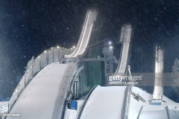 The ski jumping hills of the Lahti Stadium are seen in Lahti, Finland, on January 22, 2021. - The Ski Jumping Qualification HS 130 at the FIS World...