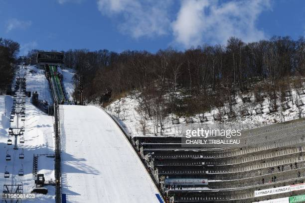 The ski jumping stadium is pictured during the men's large hill individual event at the FIS Ski Jumping World Cup in Sapporo on February 2, 2020.