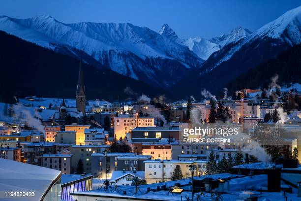 The ski resort of Davos is seen at sunrise ahead of the annual meeting of the World Economic Forum on January 20 2020